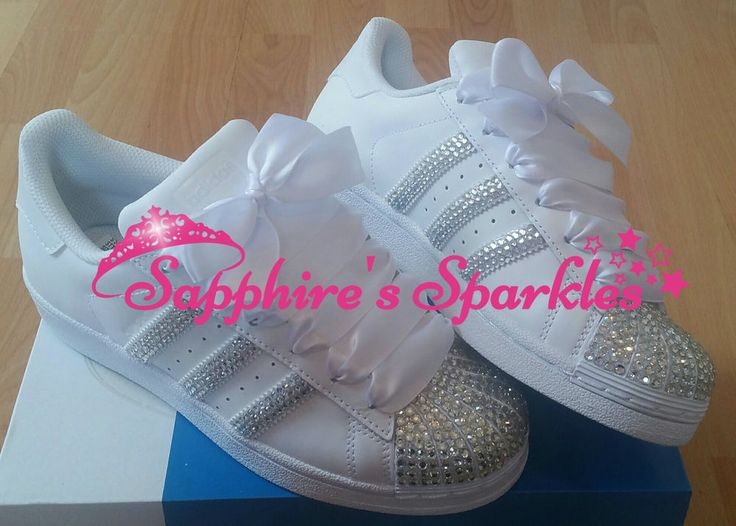 Adult Customised Crystal White Adidas Superstar Size 3 4 5 6 7 8 in Kleidung & Accessoires, Damenschuhe, Turnschuhe & Sneaker | eBay