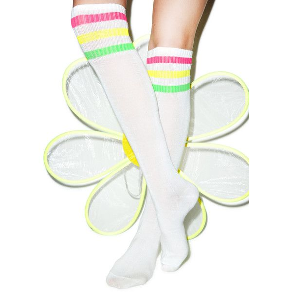 Turn Neon Knee High Socks featuring polyvore, fashion, clothing, intimates, hosiery, socks, striped knee socks, ribbed socks, neon knee high socks, ribbed knee socks and ribbed knee high socks