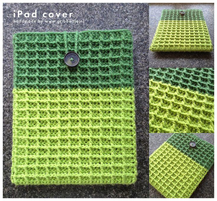 crochet iPad cover in waffle stitch - pattern stitch: http://www.youtube.com/watch?v=WLzUBne0ipU