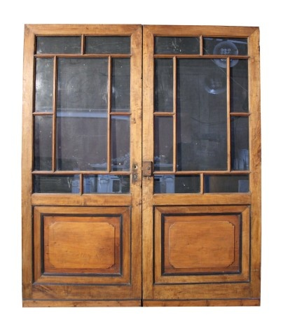 PAIR OF ANTIQUE GLAZED FRENCH DOUBLE DOORS - UK Architectural Heritage
