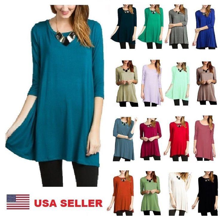 Womens Long 3/4 Sleeve Tunic Top Shirt Blouse Dress S M L 1X 2X 3X Plus Size