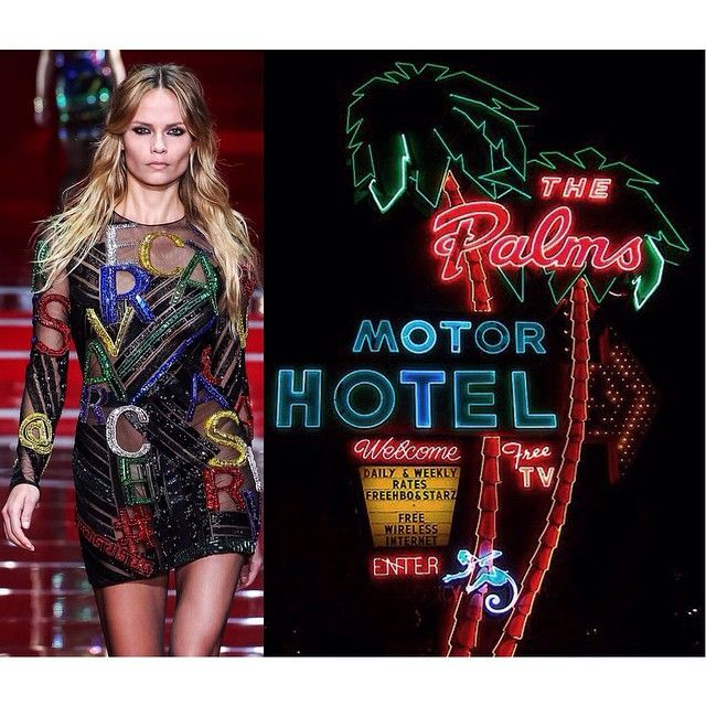 """The 'Where I See Fashion' Tumblr by Bianca Luini matches designer pieces with artwork, photography and ephemera. We asked @whereiseefashion @blancherie to deconstruct the #AW15 collections for us. ""@versace_official AW15 - neon light sign of The Palms Motel in Portland, Oregon""  See more in the takeover at dazeddigital.tumblr.com/"" Photo taken by @dazedmagazine on Instagram, pinned via the InstaPin iOS App! http://www.instapinapp.com (03/19/2015)"