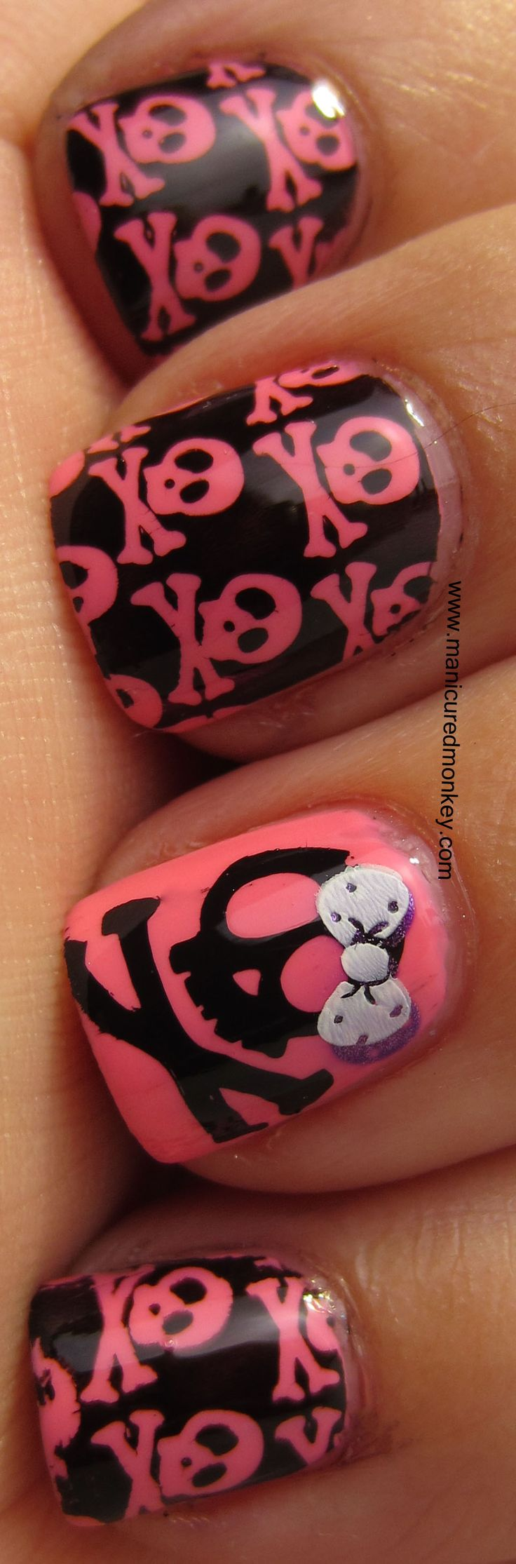Skulls & Bows - BLACK and pink - NAILS - essie (color Knockout Pout) and Wet N Wild nail polish (color Black Creme) - click for tutorial - design - art