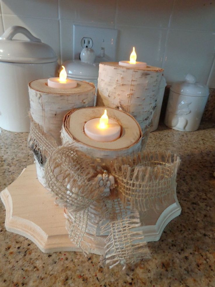 Best images about birch log candle holders candles on