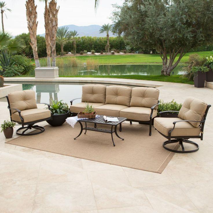 Superb Belham Living Palazetto Cast Aluminum Outdoor Sofa Set With Sunbrella  Cushions   The Belham Living Palazetto