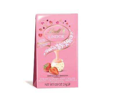 Lindt Lindor Valentine's Strawberries and Cream White Chocolate Truffles - .8oz : Target