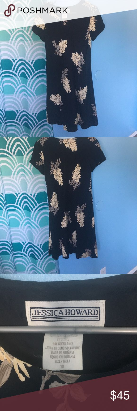 Vintage Jessica Howard dress Super cute vintage Jessica Howard dress. I've only worn it a few times but it is in great condition! Super cute flower designs. Great as a thrown on dress!size says 10 but I'm a small and it fits me nicely. Colors are black, cream and tan. Jessica Howard Dresses Midi
