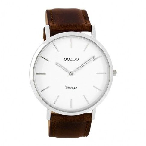 OOZOO Vintage horloge Bruin/Wit C7752 (44 mm)