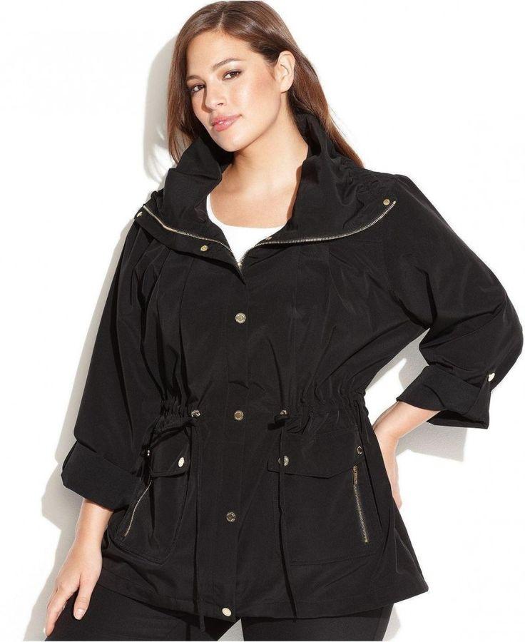 Plus Size Tab Sleeve Zip Front Anorak