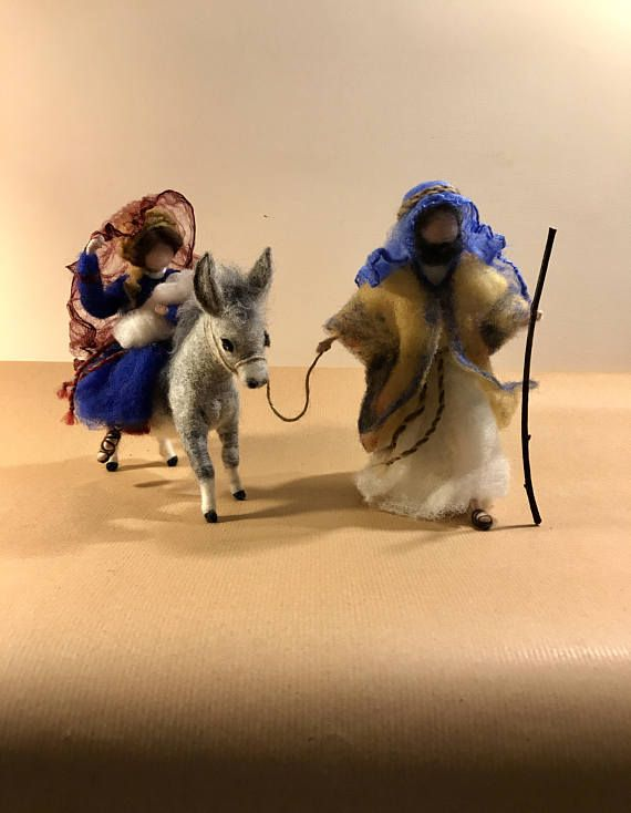The famous Biblical scene of Egypts escape of the Holy Family. Made in the technique of dry felting with evidence of many details. The dimension are: the hight of Joseph is 8 (20 cm) the hight of donkey is about 6,5 (16 cm) and length is 7 (17,5 cm)