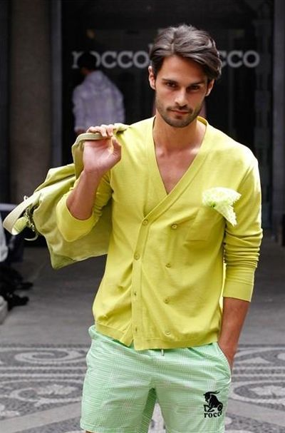 Shop this look for $10:  http://lookastic.com/men/looks/yellow-double-breasted-cardigan-and-white-pocket-square-and-yellow-briefcase-and-mint-shorts/348  — Yellow Double Breasted Cardigan  — White Pocket Square  — Yellow Briefcase  — Mint Plaid Shorts