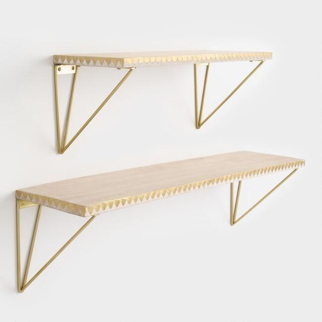 Geometric Gold Wire Mix Match Shelf Brackets Set Of 2
