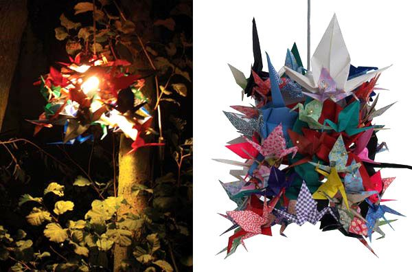 Lamps Made from Origami Cranes: Teach children how to make origami cranes etc and make sculptures which can light up for the exhibition, fairy lights- use patterned paper/wallpaper