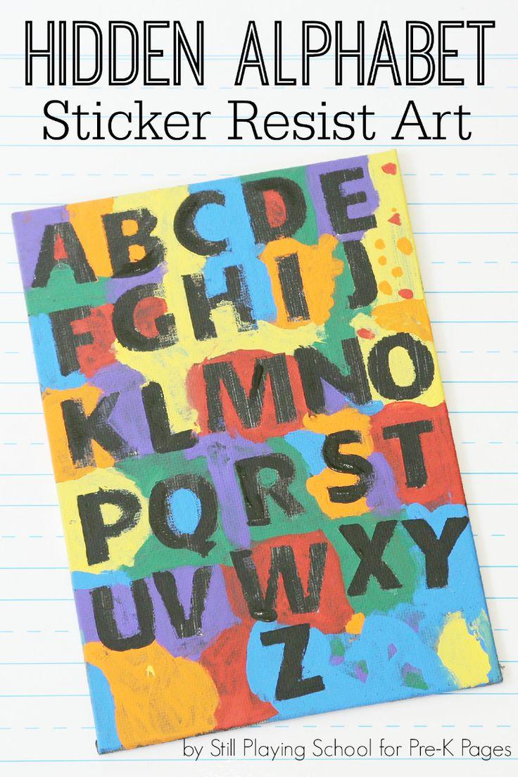 Here's a fun activity for the kids! Hidden alphabet sticker resist art!