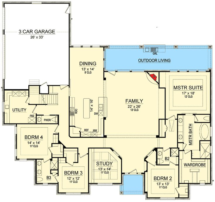 Impressive European House Plan - 36524TX floor plan - Main Level
