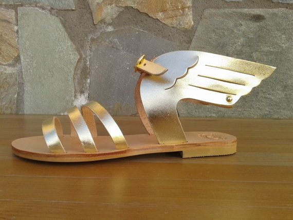 HERMES Ancient Greek Leather Sandals Women's Gold by MagusLeather, €47.12
