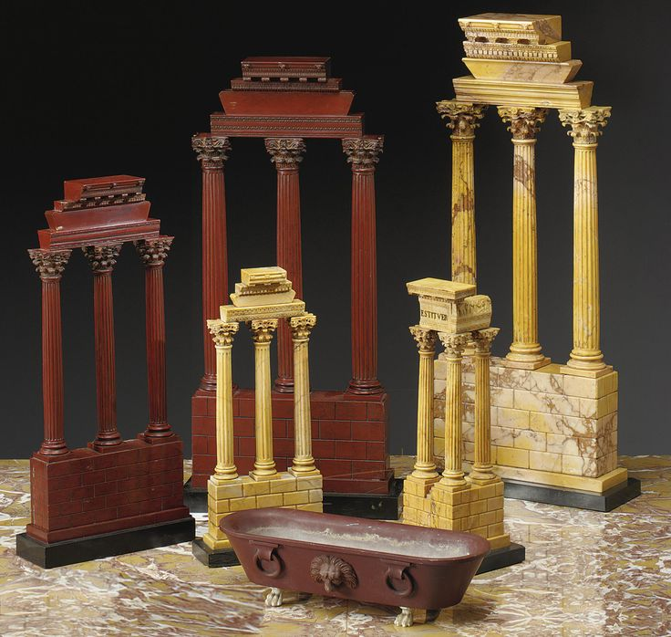 Two of the largest size to be found Sienna & Red marble model of the ruins…