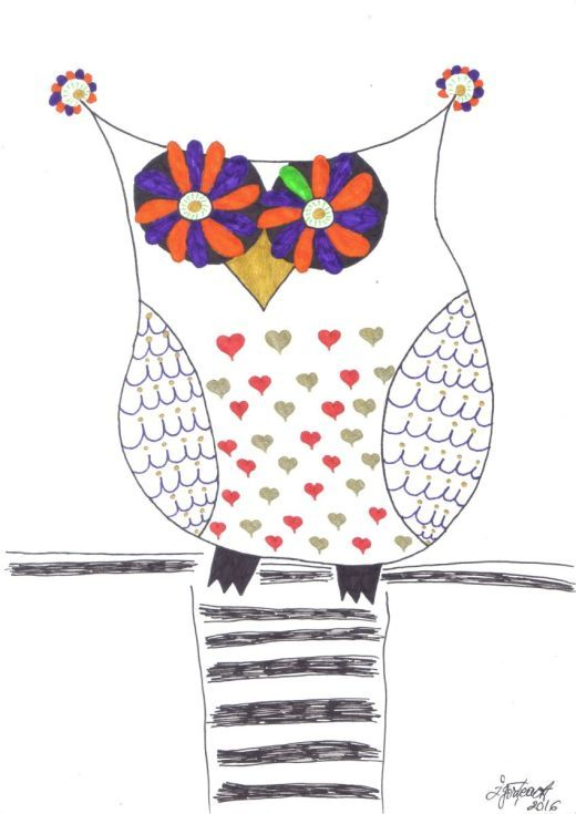 Buy Naive owl, Ink drawing by Caroline Andreea Zgortea on Artfinder. Discover…