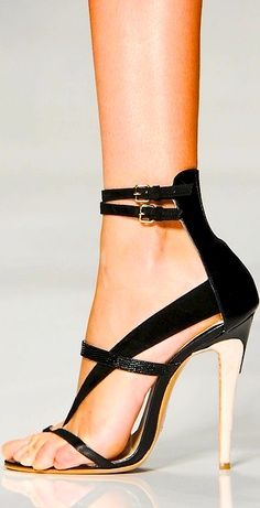 Black Leather Sandal w Double Ankle Straps + Gold Heel 2014