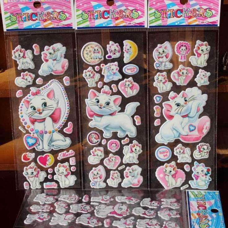10Pcs / Lot Cartoon Marie Cat Pattern Bubble Stickers Classic Toys 3D Scrapbook Sticker Kids School Reward Christmas Gift
