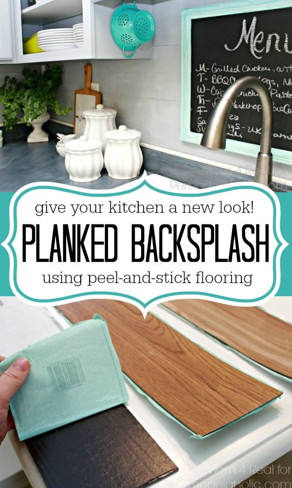 Give your kitchen a new look using peel and stick flooring .... this faux planked wall backsplash is durable, easy to clean and super easy to install. Great for renters or people on a budget! No major tools necessary, just scissors! via @Mom4Real