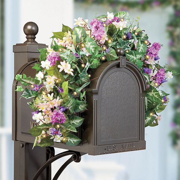 wisteria pre lit mailbox swag 24 liked on polyvore