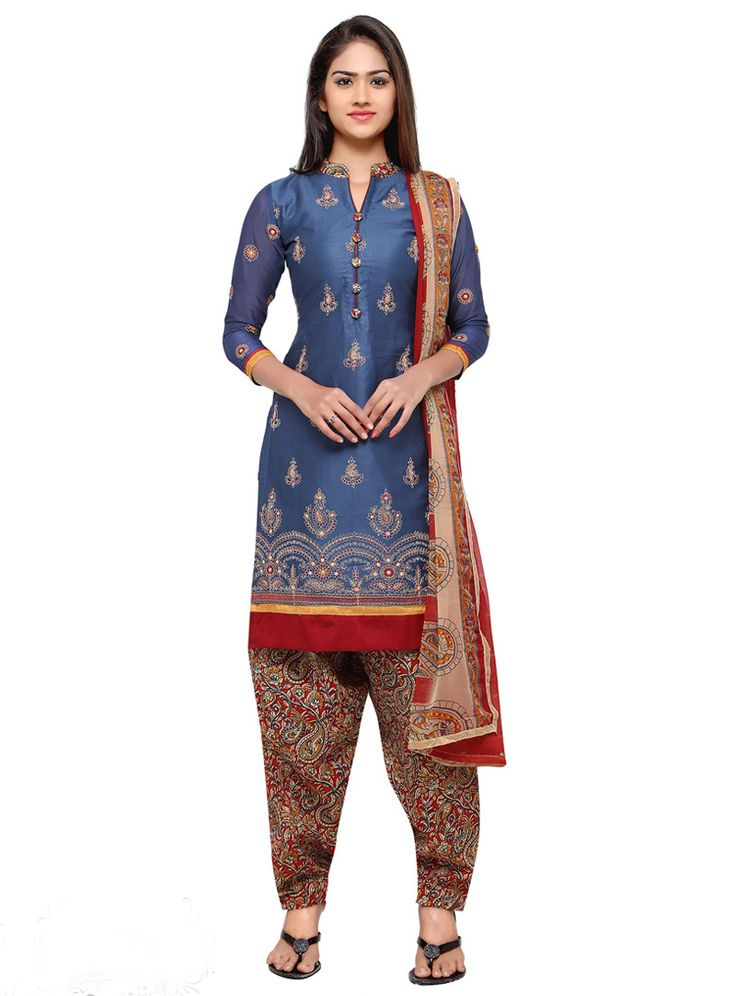 Blue Cotton Patiala Suit 88971