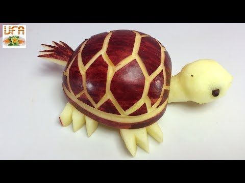 How To Make Purple Apple Tortoise - Fruit Carving Garnish - Food Art Decoration - YouTube