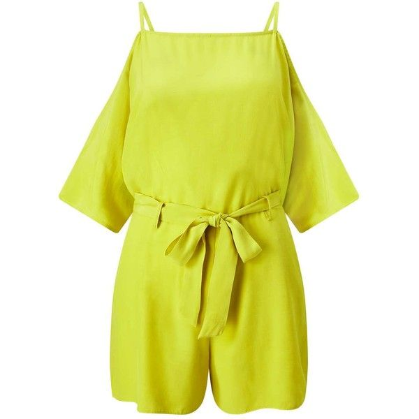 Miss Selfridge Yellow Cold Shoulder Playsuit ($18) ❤ liked on Polyvore featuring jumpsuits, rompers, chartreuse, miss selfridge, yellow romper, playsuit romper and yellow rompers