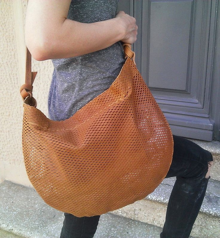 Boho shoulder tote bag, leather by byCACHE on Etsy