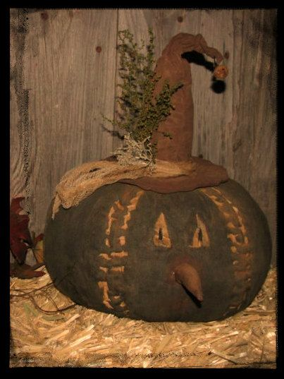 Halloween Primitive Pumpkin Witch Shelf Sitter by northwindstar, $28.99