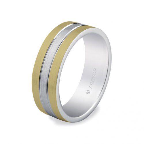 Alianza de boda bicolor plana, de 6,5 mm de ancho y realizada en plata 925/1000 con baño de rodio y baño dorado.