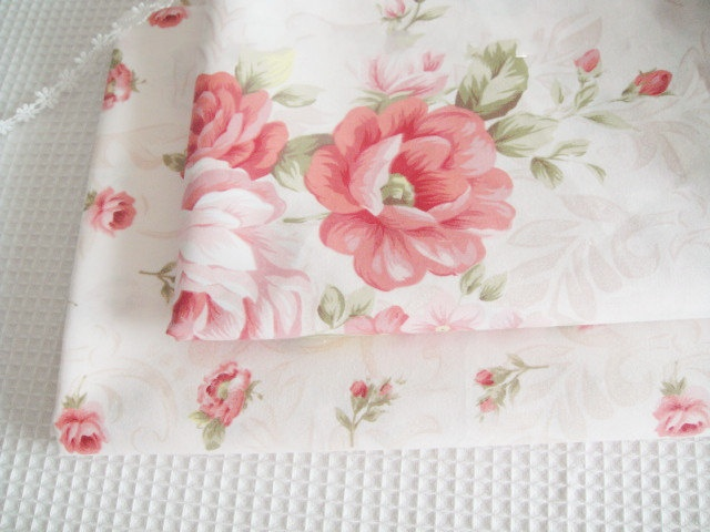 Peony cotton fabric, Japanese home decor fabric, big and small peony floral print, sold by half a yard. $8.60, via Etsy.