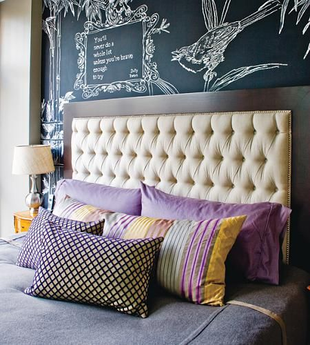 169 headboard ideas: Colors Patterns, Headboards Ideas, Tufted Headboards, Chalkboards Paintings, Chalk Boards, Bedrooms Headboards, Upholstered Headboards, Chalkboards Wall, Bedrooms Wall