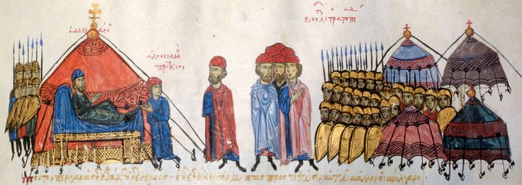 Illustration from  Scylitzes Chronicle  f217  The Bulgars besieging Thessaloniki.  The Bulgars are besieging Thessaloniki and their leader Deleanos receives a fellow commander in his tent. The tented camp of the Bulgar army can be seen to the right.  Scylitzes Chronicle