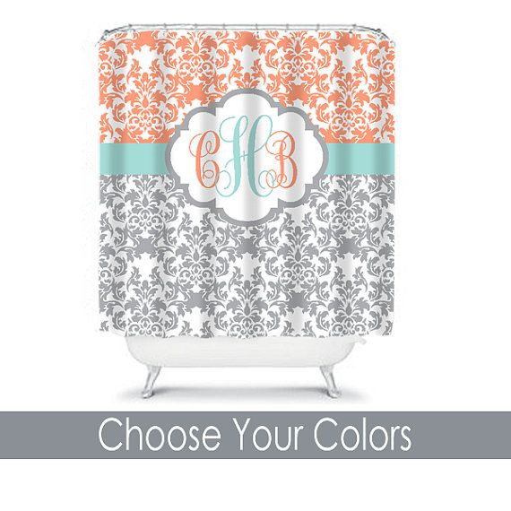 Damask SHOWER CURTAIN Aqua Gray Peach Custom MONOGRAM Personalized Bathroom Decor Damask Bathroom Beach Towel Plush Bath Mat Made in Usa ★SHOWER CURTAIN DETAILS: • 100% Polyester fabric with sublimation dye printing • 12 stitch-reinforced button holes for hook placement • (hooks not