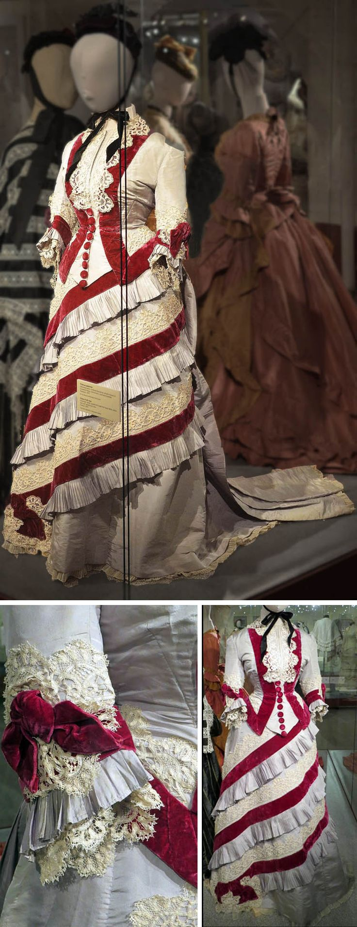 Day dress, French, ca. 1875. Silk rep. From Alexandre Vassiliev's collection. Photo credits: top, Sherila, LiveInternet.ru; lower left, unknown; lower right, Lena GM.