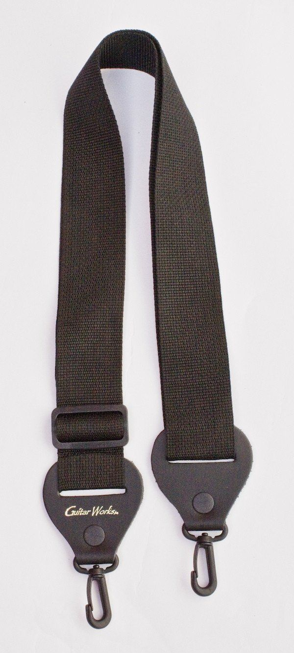 Banjo Strap Black Or Brown Nylon Leather Ends Quick & Easy Clips Made In USA