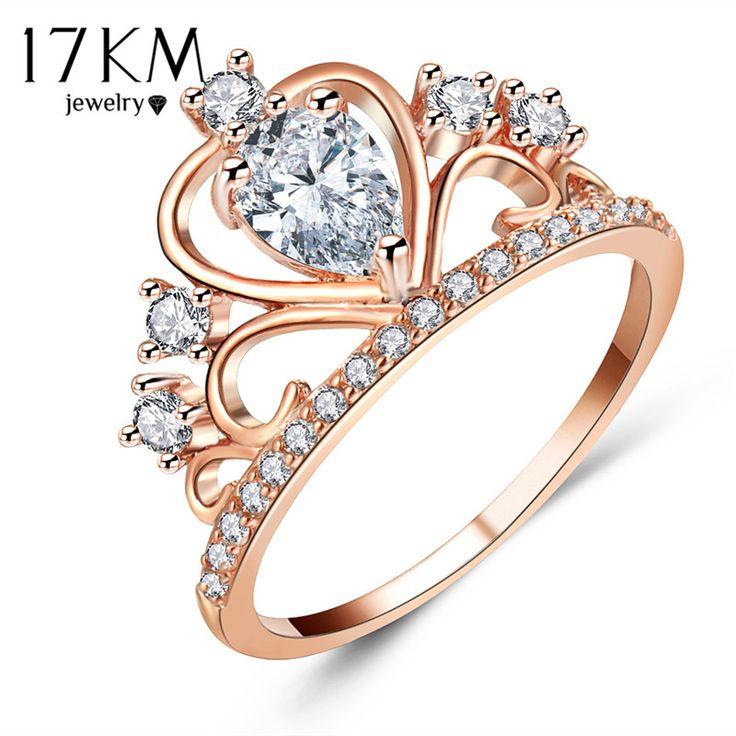 Moda Oval Cristal Oco Coroa Anéis Para As Mulheres Cor de Rosa de Ouro Cúbicos de Zircônia Anel