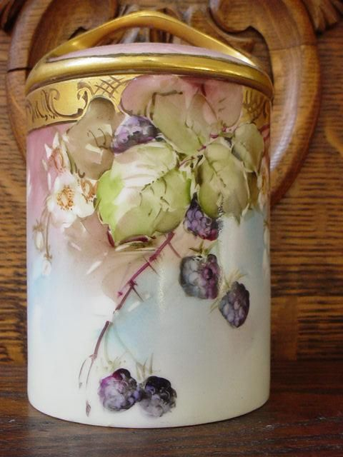 Beautiful vintage Rosenthal Bavaria condensed milk container. Hand-painted with lush rich blackberries and lots of gold.