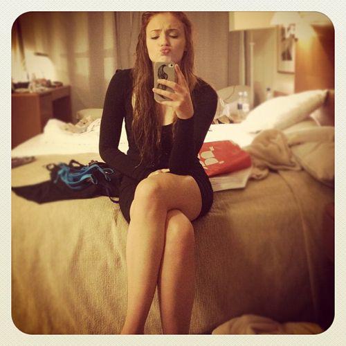 Sophie Turner hot selfie Little Black Dress weheartit ...