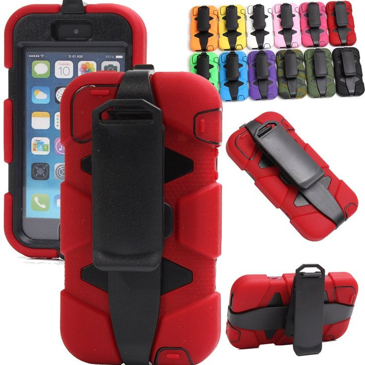 Generic For iphone 5 Case For Girls & Men, Defender Series Heavy Duty Full Body Protective Shatter-resistant Shock-absorbing Tough Armor Rugged Silicon Rubber High Impact Hybrid Holster/Belt Clips Case With Built-in Screen Protector For iphone 5 Only (Not For iphone 5S/5C) (Red). Fits iPhone 5 Only not for iphone 5s/5c. Independently tested to meet conditions outlined in US Department of Defense MIL-STD-810 and UK Department of Defense Def-Stan 00-35. Integral Display shield deflects wind...
