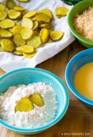 "Making Oven Baked ""Fried"" Pickles with Garlic Sauce"