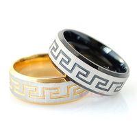Greek Key Stainless Steel Rings jewellery for men or women ...
