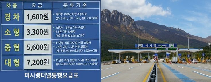 #Misiryeong Tollgate, Gangwon Province, Korea - Toll Charges | 미시령터널 통행요금표