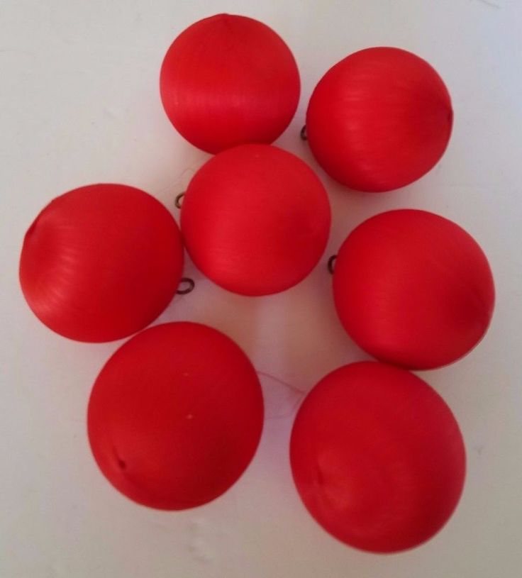 """Red Satin Christmas Ball Ornaments Lot of 7  Mate Unbreakable 2.5"""" Vintage"""
