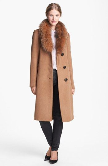 Ellen Tracy Genuine Fox Fur Trim Belted Long Coat (Regular & Petite) (Online Only) available at #Nordstrom