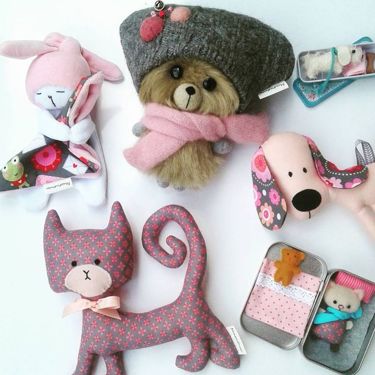 Cute pink handmade toys for babies and toddlers.