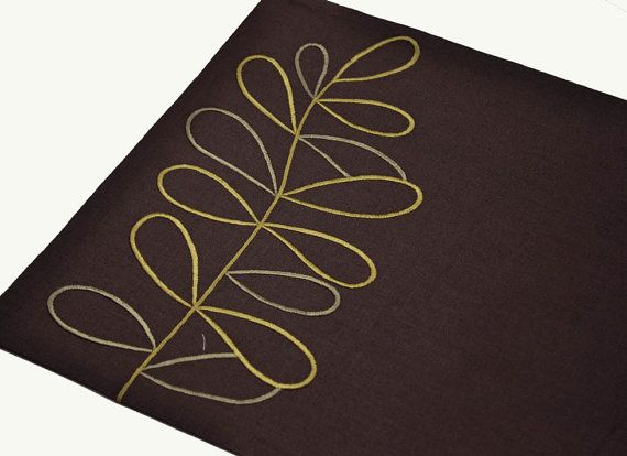 Linen Placemat Set of 4 Dark Brown Linen Green Leaves by KainKain