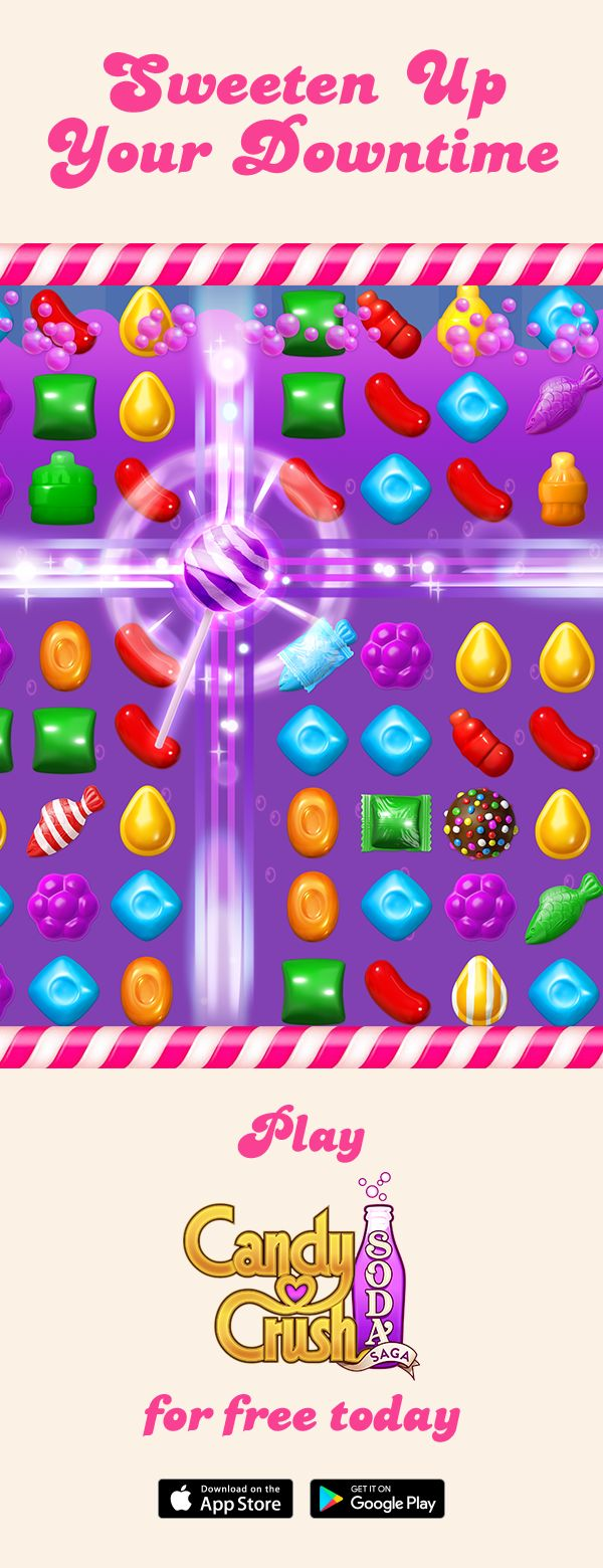 Candy Crush Soda Saga is the divine puzzle game from King, the makers of Candy Crush Saga, Farm Heroes Saga, and more! Switch and match candies to create 3 in a row, or match 4 (or more) to make delicious special candies!